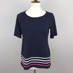 Talbots Navy and Pink Ombre Pleated Sleeve Shirt